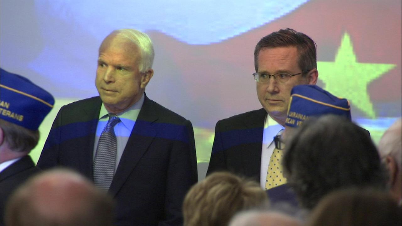 Senators Mark Kirk and John McCain at the Ukrainian Cultural Center on the citys Northwest Side.