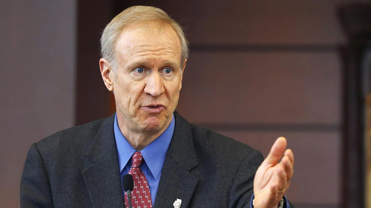 FILE - In this March 20, 2015 file photo, Illinois Gov. Bruce Rauner speaks at a news conference in Chicago.