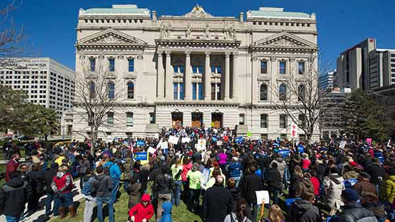 Thousands of opponents of Indiana Senate Bill 101, the Religious Freedom Restoration Act, gathered on the lawn of the Indiana State House on March 28, 2015.