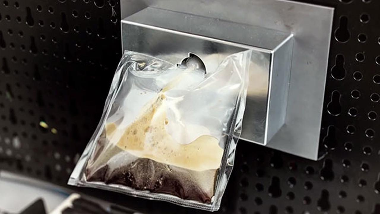 This undated product photo made from a video provided by Lavazza shows a prototype of Lavazzas and Argotecs ISSpresso machine.