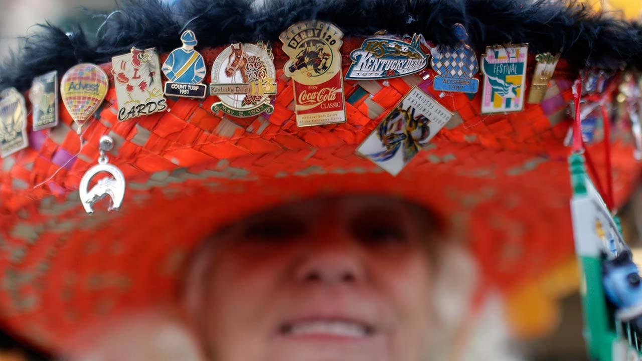Ginny Keen wears a hat before the 141st running of the Kentucky Derby horse race at Churchill Downs on May 2, 2015, in Louisville, Ky.AP Photo/Brynn Anderson
