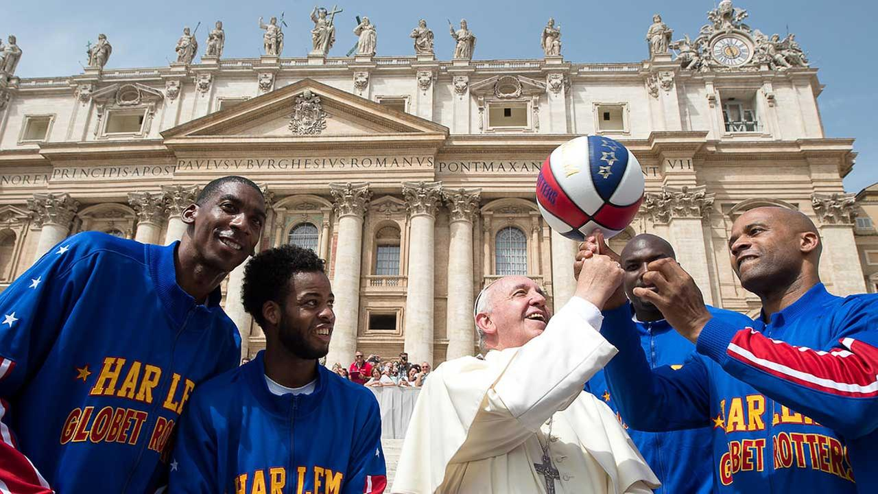 The iconic Harlem Globetrotters met with Pope Francis and named him just the ninth Honorary Harlem Globetrotter in team history.