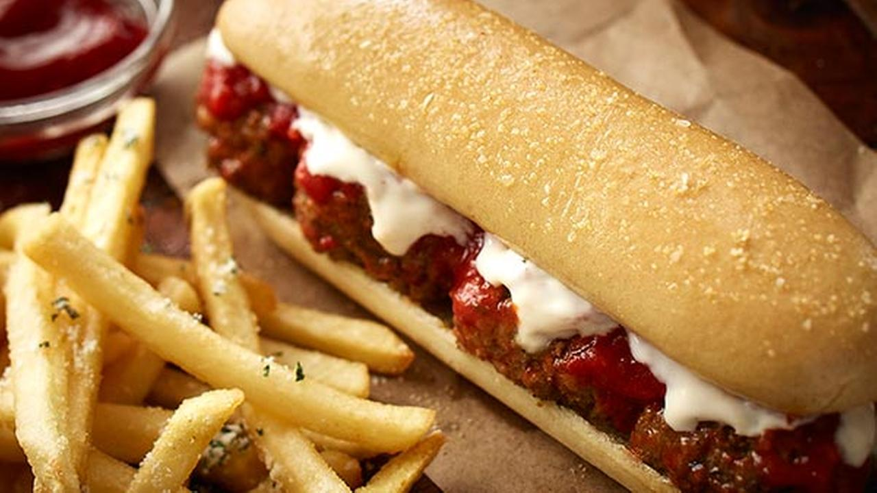 This undated product image provided by Darden Restaurants shows Olive Gardens new meatball breadstick sandwich.