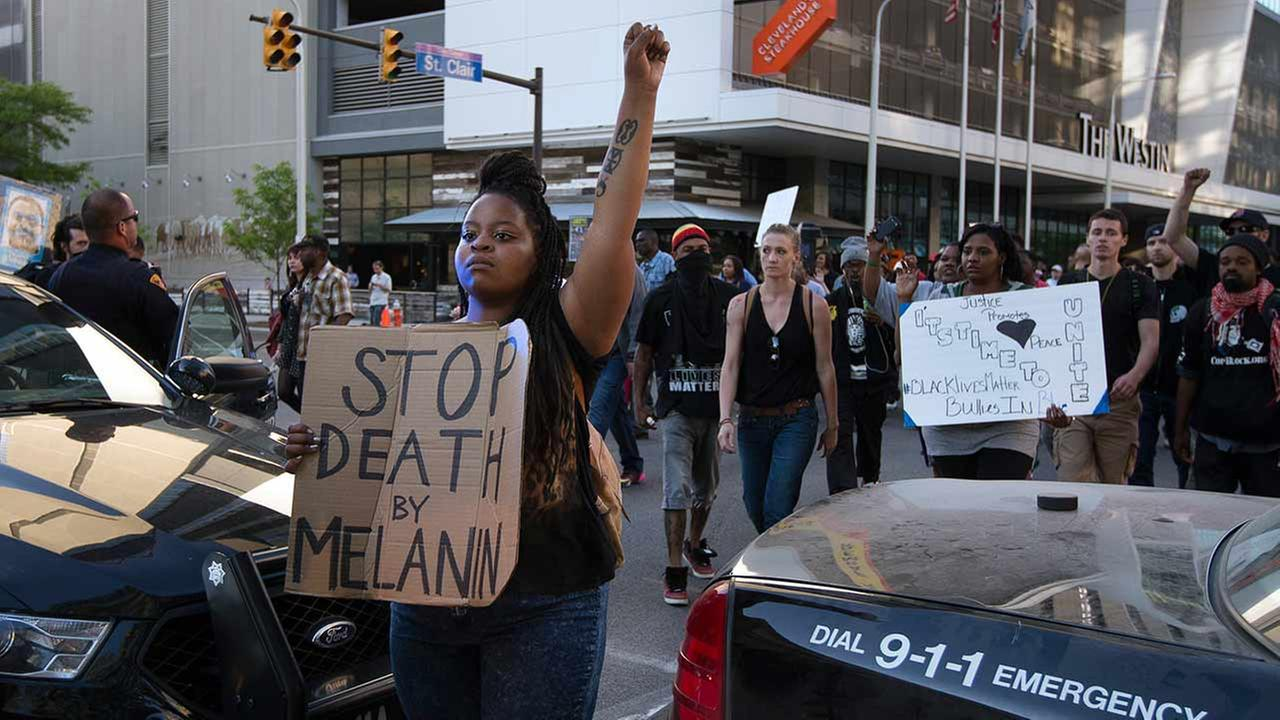 Demonstrators march during a protest against the acquittal of Michael Brelo, a patrolman charged in the shooting deaths of two unarmed suspects, on May 23, 2015, in Cleveland.AP Photo/John Minchillo