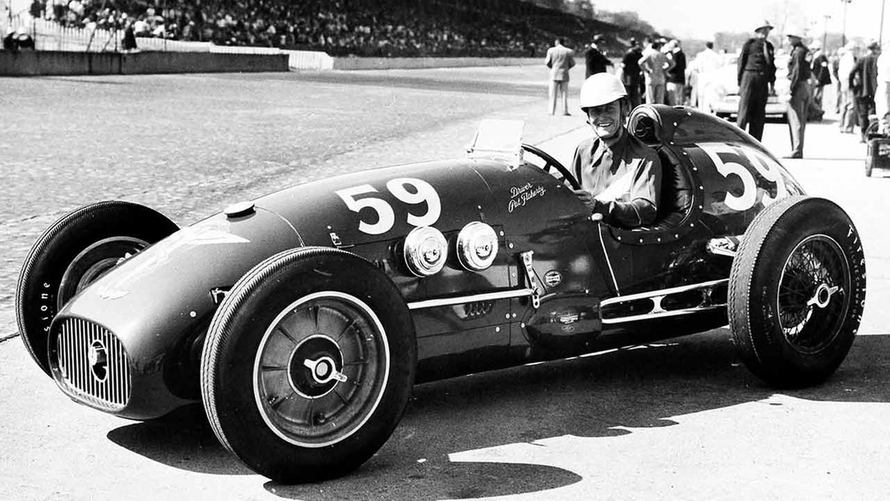 Pat Flaherty, Glendale, Ca., poses in his Granatelli Sabourin Special after qualifying for the Indy 500 at the Indianapolis Motor Speedway in Indianapolis, Ind., May 13, 1950.