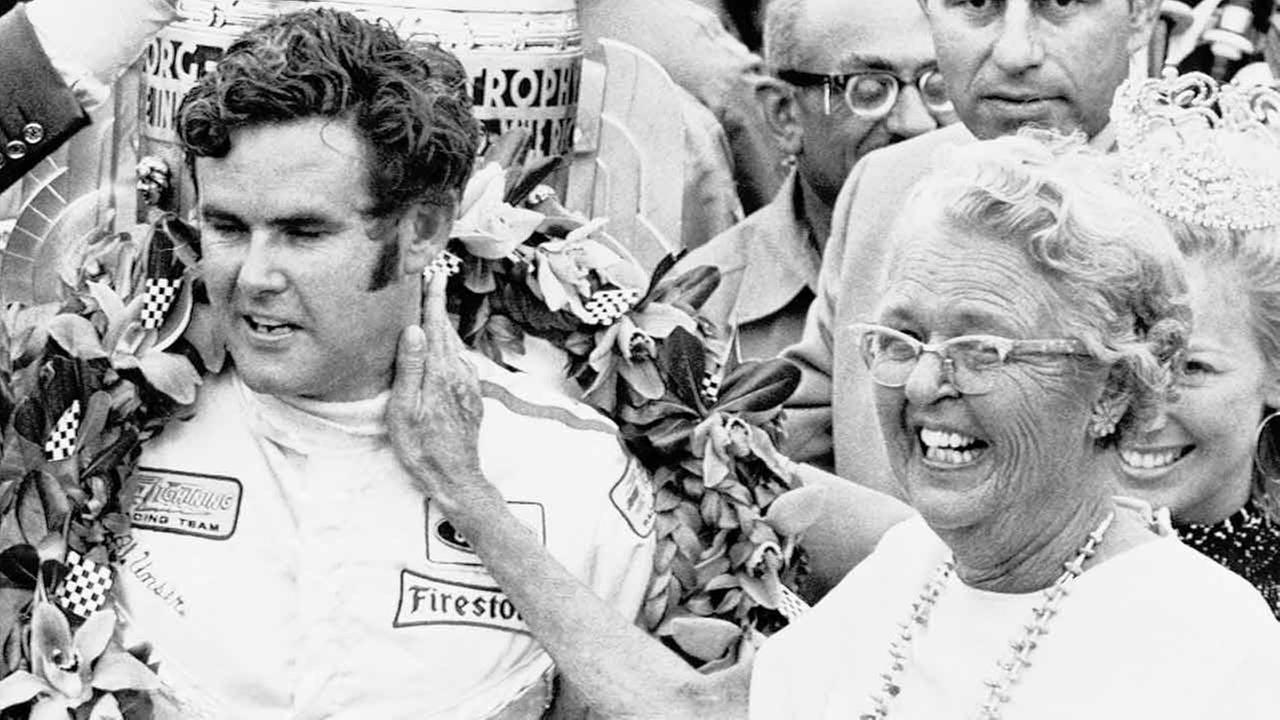 With a loving pat on his neck, Ma Unser, as she is called, congratulates her son, Al Unser, on his victory on May 30, 1970 in the Indianapolis 500-mile speedway race.AP Photo