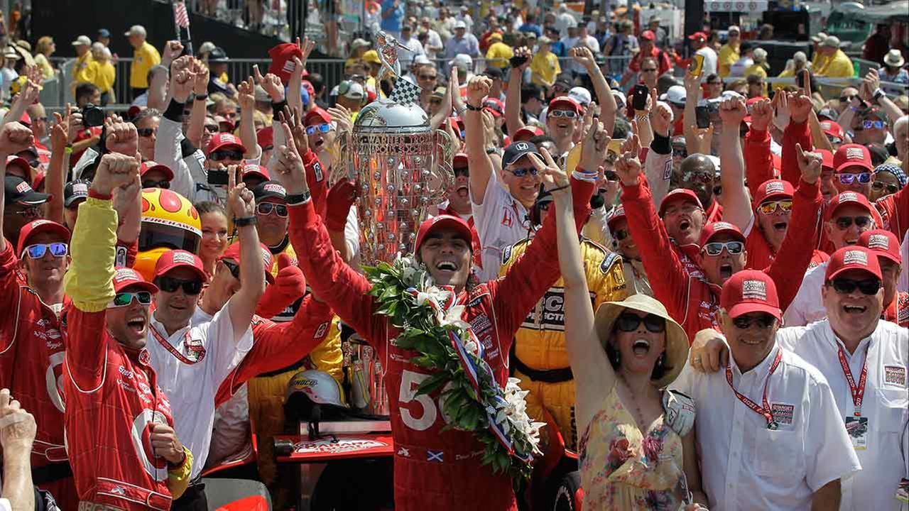 IndyCar driver Dario Franchitti of Scotland reacts after winning the running of the 96th Indianapolis 500 auto race at the Indianapolis Motor Speedway on May 27, 2012.AP Photo/Darron Cummings