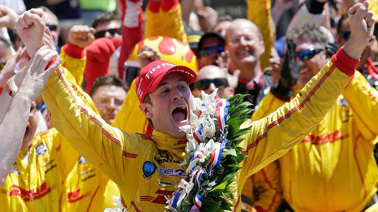 Ryan Hunter-Reay celebrates winning the 98th running of the Indianapolis 500 IndyCar auto race at the Indianapolis Motor Speedway in Indianapolis on May 25, 2014.AP Photo/AJ Mast