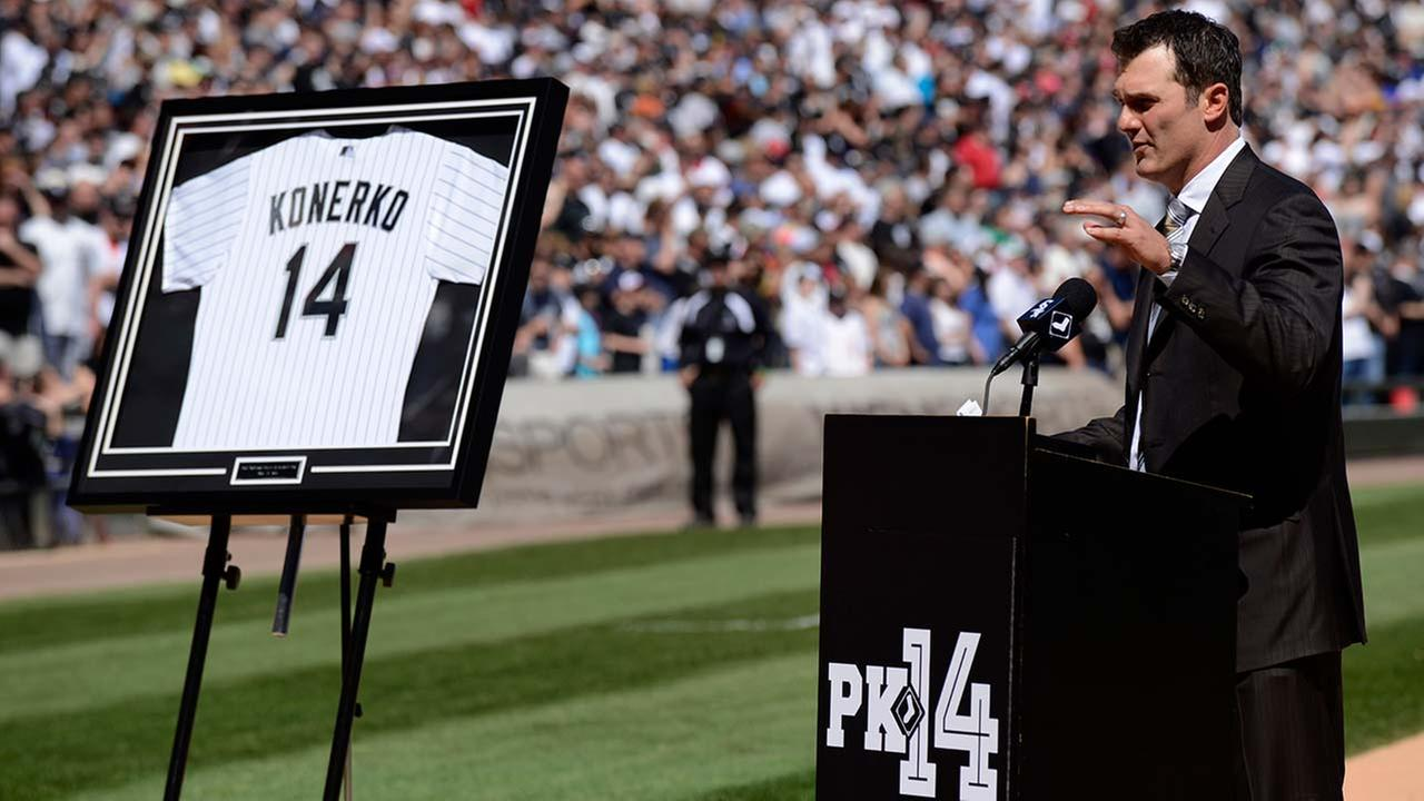 Former Chicago White Sox player Paul Konerko speaks during a ceremony retiring his No. 14 at U.S. Cellular Field in Chicago on May 23, 2015.