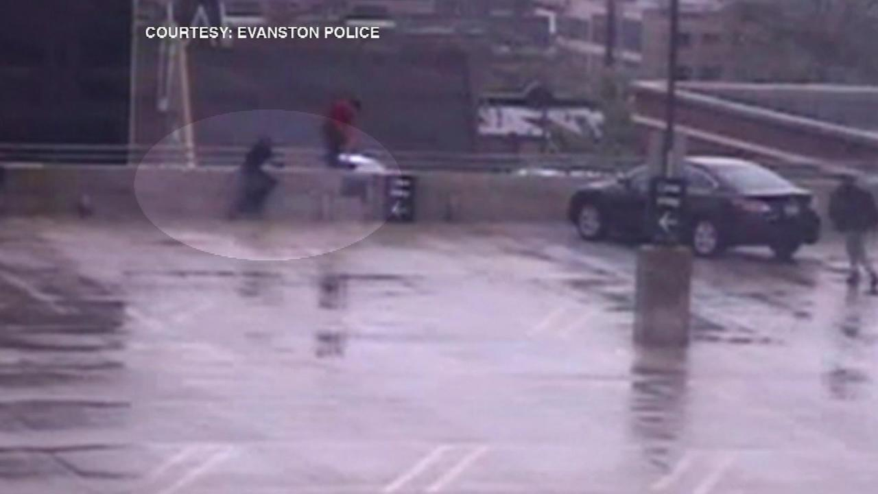 An off-duty cop helped save the life of an apparently distraught man perched on the ledge of a parking garage.