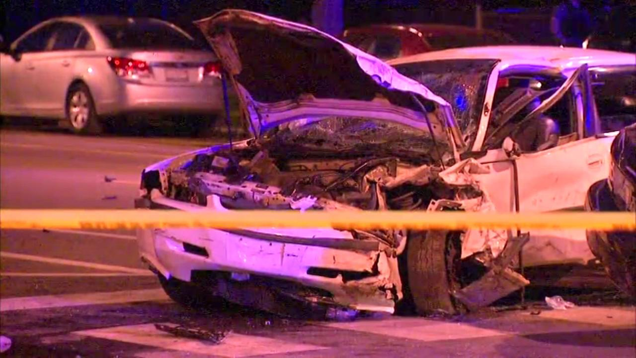 Three Chicago police officers were hurt in an accident in the South Austin neighborhood on Tuesday night.