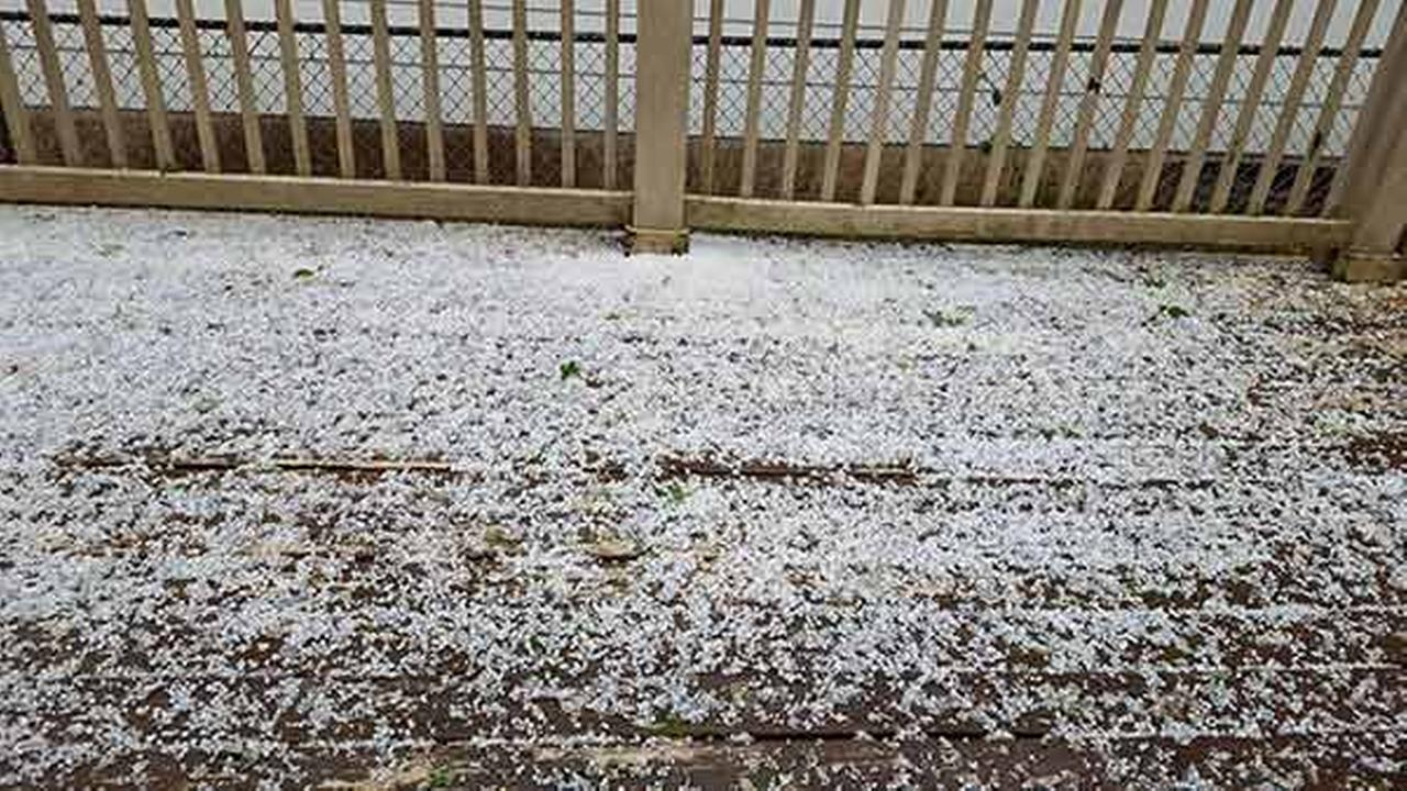 Hail in Zion, Ill., on Monday. Photo shared by Kathy Stitson.