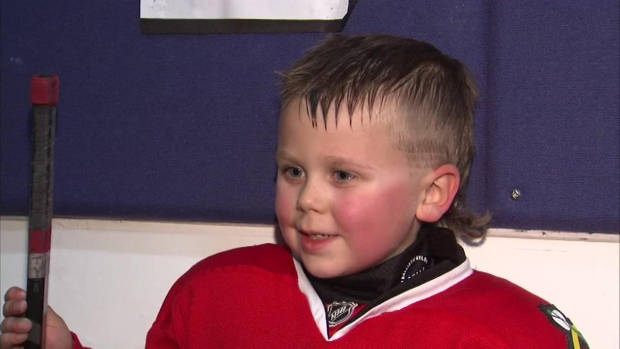 Tyler Seiwert, 6, has the best mullet this side of the Blackhawks sharp-shooting winger.