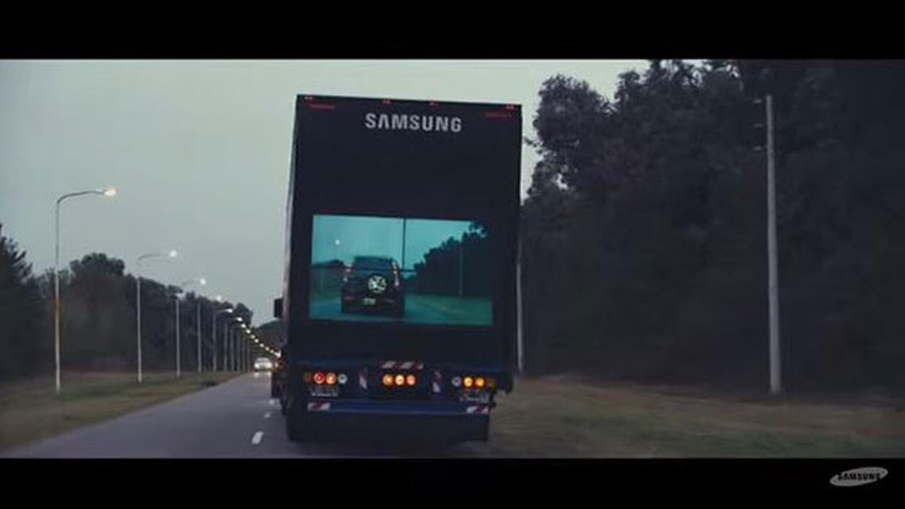 Samsung Clear Safety Truck Aims To Make Roads Safer - Samsung safety truck shows the road ahead so cars can safely pass