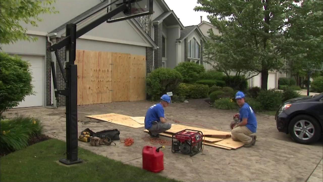 Lightning damaged a home in north suburban Buffalo Grove.