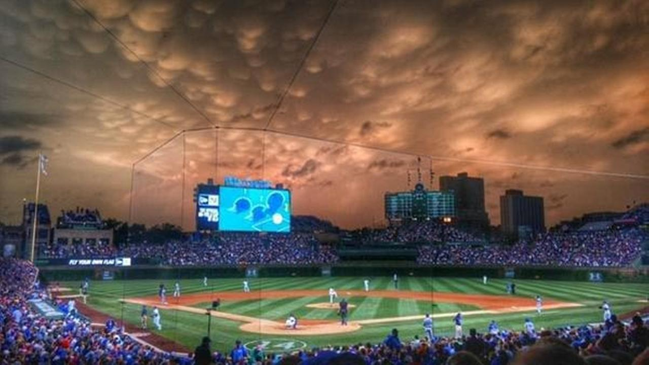 Severe weather turns the sky yellow above Wrigley Field on June 22, 2015. Courtesy of Chicago Cubs