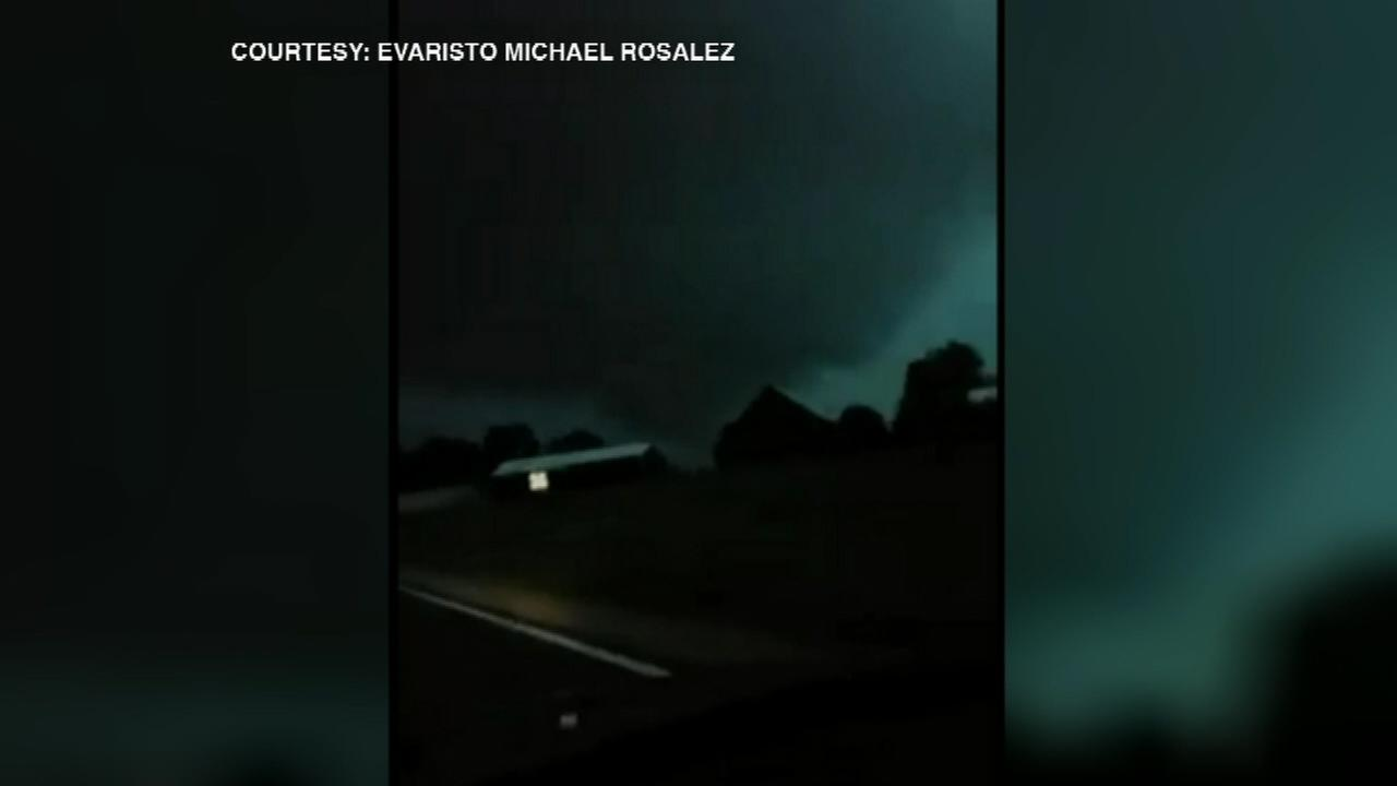 A funnel cloud was spotted near Mendota, Ill., on Monday night.