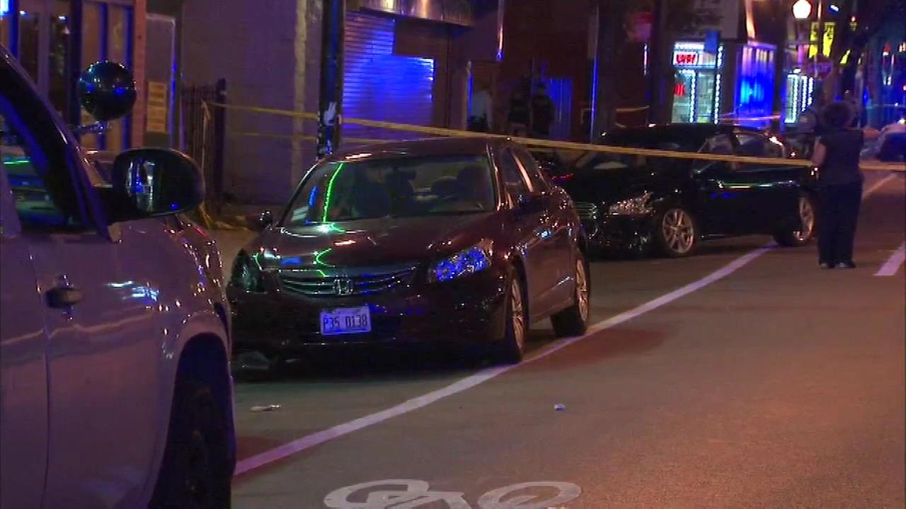 Chicago police investigate after four people were shot in the citys Bronzeville neighborhood.
