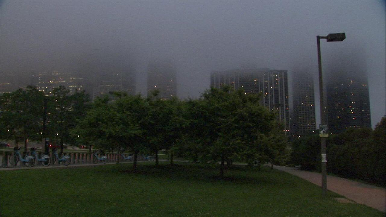 Dense fog developed in downtown Chicago and along the Lake Michigan shoreline early Thursday evening.