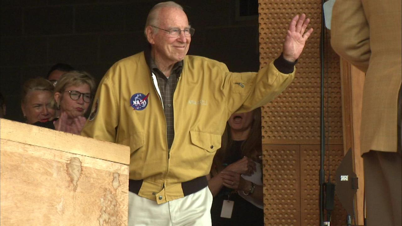 Astronaut James Lovell, commander of NASAs Apollo 13 mission, introduced the film Tuesday night at Millennium Park.