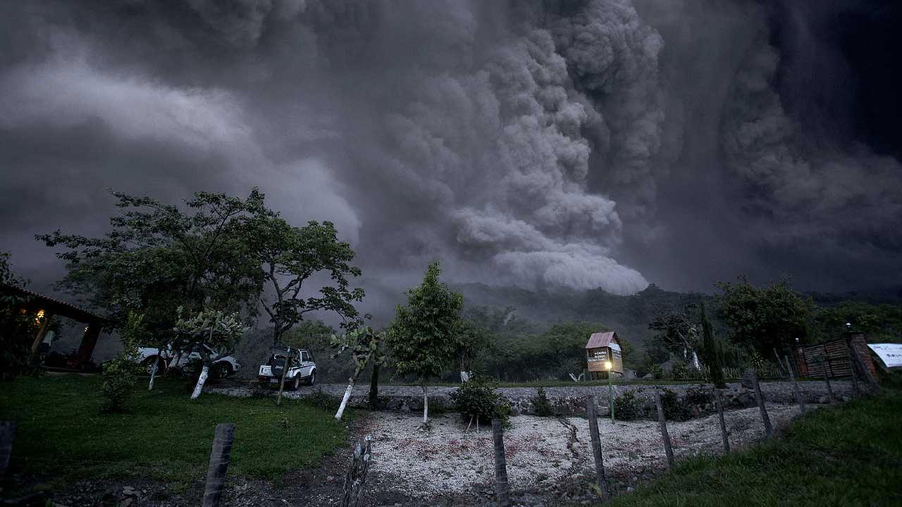 Clouds of ash fill the sky after an eruption by the Colima volcano, known as the Volcano of Fire, near the town of Comala, Mexico on July 10, 2015.