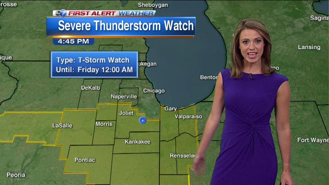 A Severe Thunderstorm Watch has been issued for areas south of Chicago until midnight on Thursday.