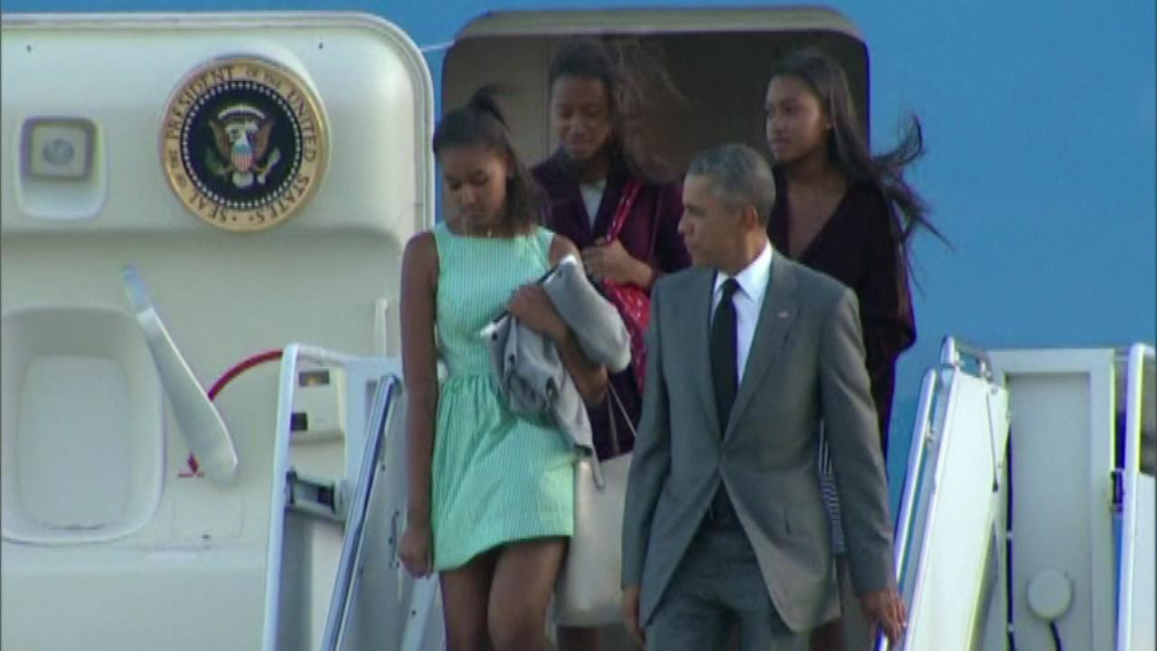 President Barack Obama is enjoying a father-daughter weekend in New York with his teenage girls.