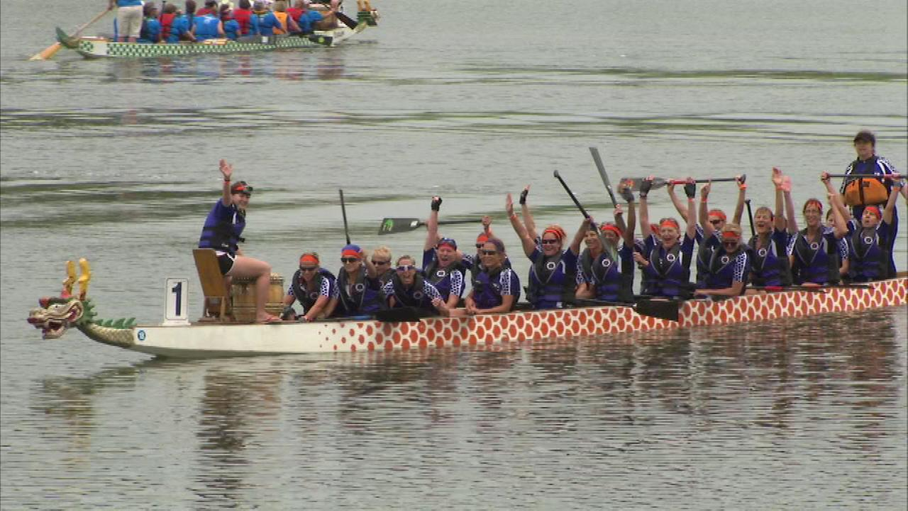 Sunday was the second day of the dragon boat races on Lake Arlington, in northwest suburban Arlington Heights.
