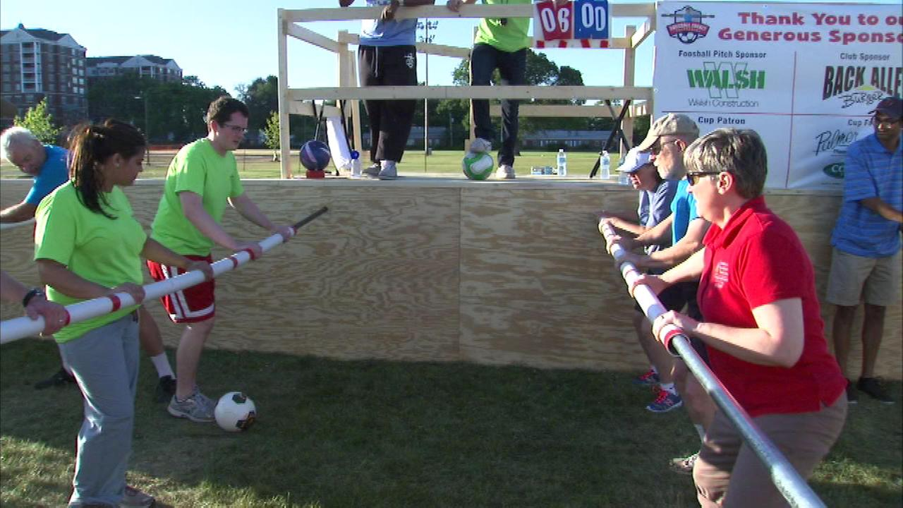 A human foosball tournament is going on Saturday in suburban LaGrange.