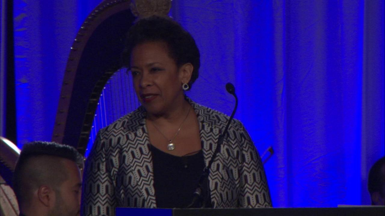 U.S. Attorney General Loretta Lynch speaks at an event for the American Bar Association in Chicago Saturday afternoon.