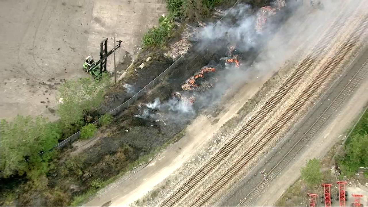 A fire along railroad tracks near West 47th Street and South Shields Avenue broke out Thursday afternoon.