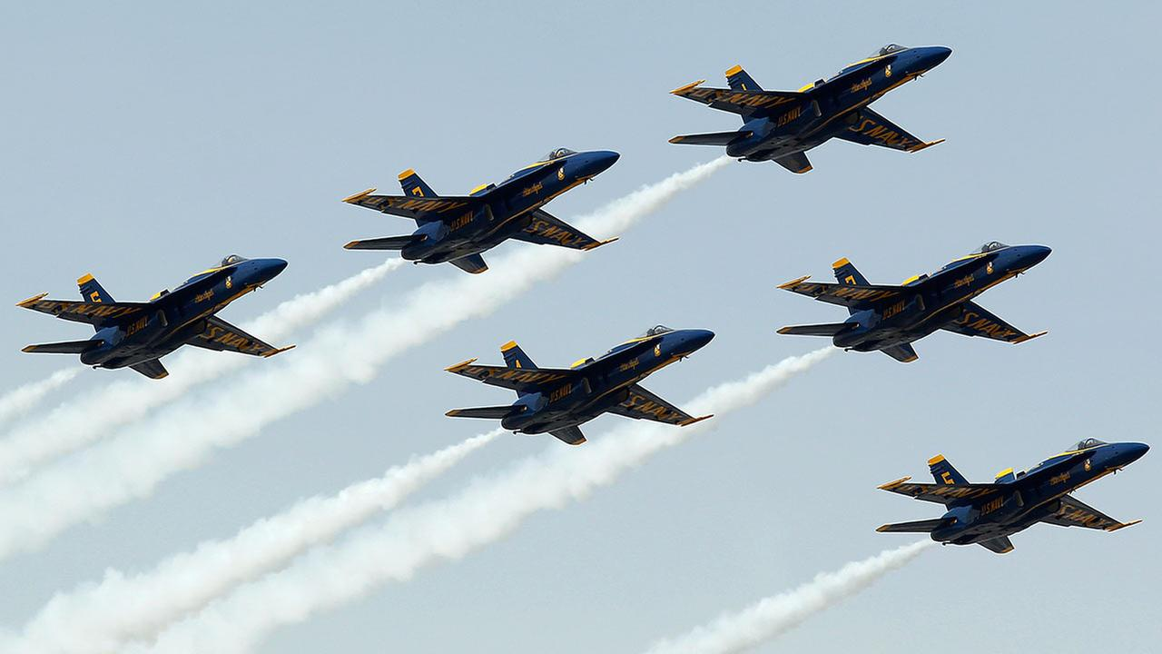 (FILE) U.S. Navy Blue Angels flying in Fontana, Calif.