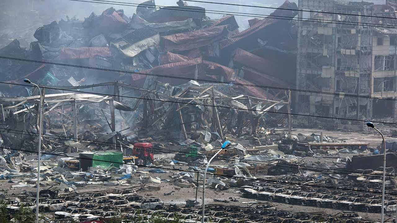 The smoking remains of an explosion in northeastern Chinas Tianjin municipality on Aug. 15, 2015.