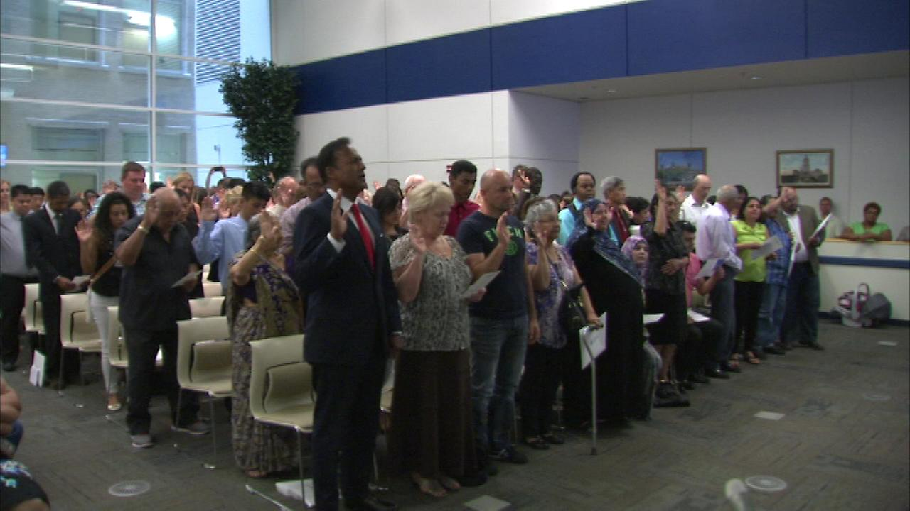 Dozens of people woke up Tuesday as citizens of another country, but now they are Americans.  One of them is ABC7S own Ravi Baichwal.