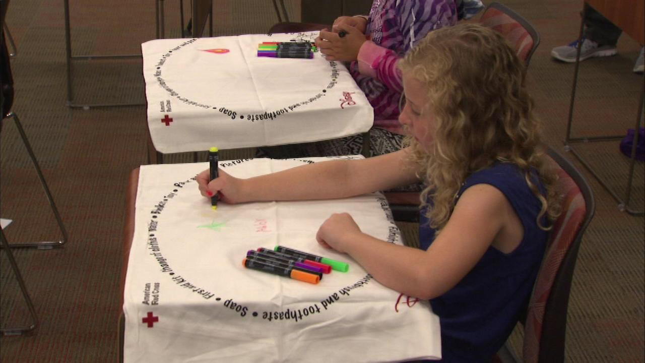 With the anniversary of Hurricane Katrina in mind, the Red Cross taught some children Saturday how to get prepared in the event of an emergency.