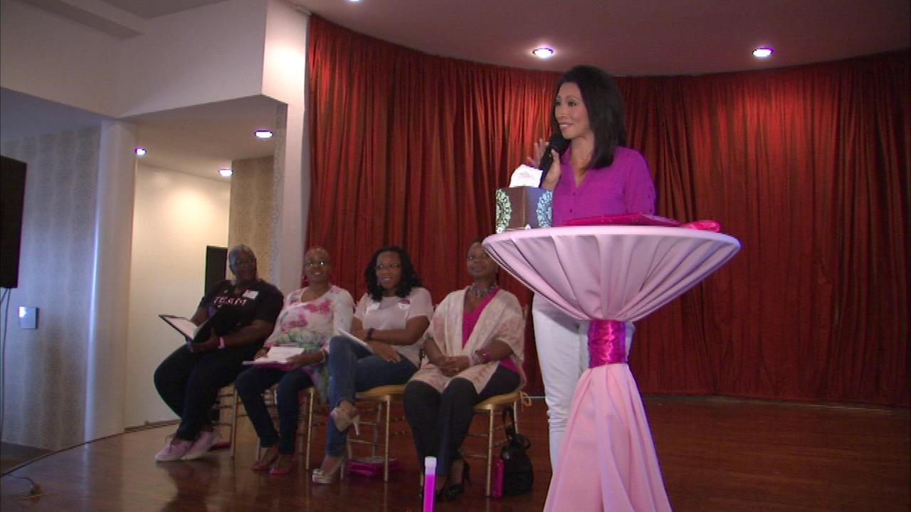 ABC7s Judy Hsu emceeing an event kicking off the American Cancer Societys Making Strides Against Breast Cancer walk.