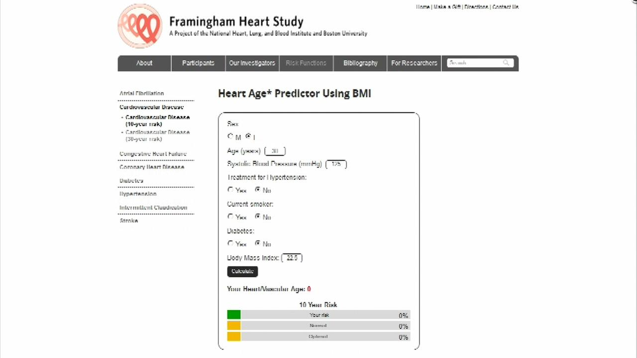 CDC researchers helped come with an easy-to-use calculator that can help you determine your risk for heart disease or a stroke.