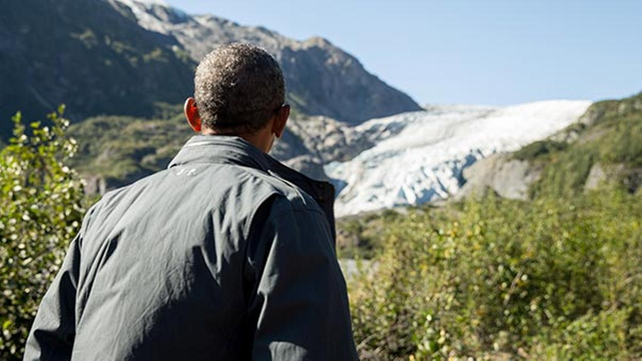 President Barack Obama pauses to view the Exit Glacier in Seward, Alaska, Sept. 1, 2015, which according to National Park Service research, has retreated approximately 1.25 miles.