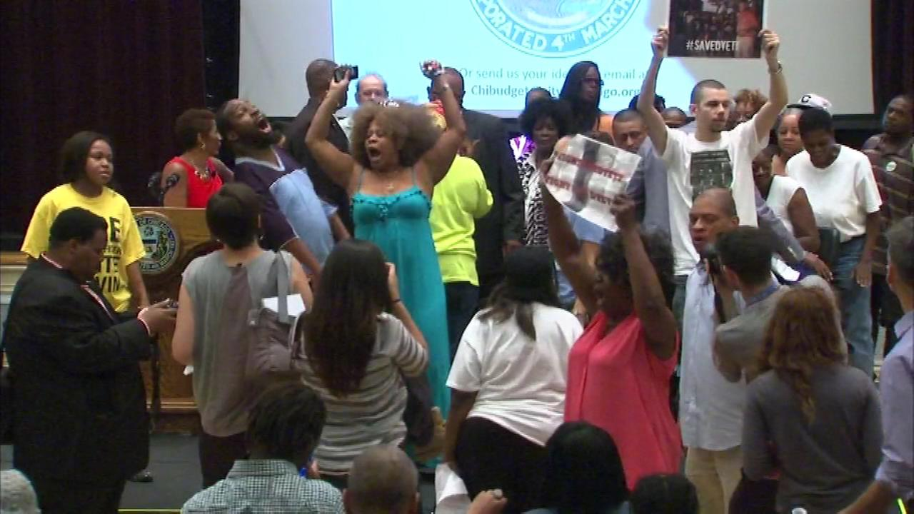 Protesters shut down the second public meeting hosted by Mayor Rahm Emanuel to address Chicagos budget crisis.