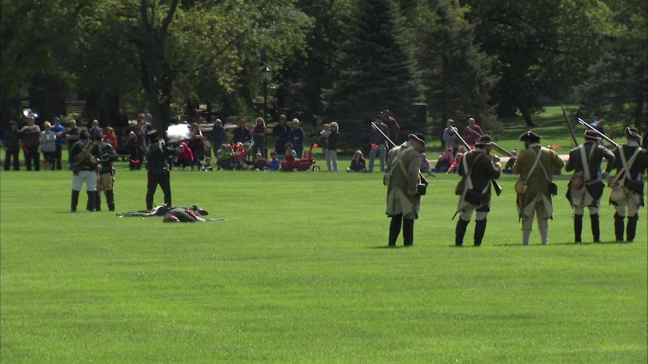The Americans and Red Coats battle it out for a Revolutionary War re-enactment this weekend at Cantigny Park in suburban Wheaton.