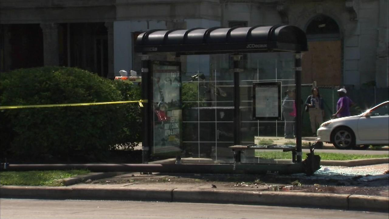 5 critical after car crashes into bus shelter near 47th king drive. Black Bedroom Furniture Sets. Home Design Ideas