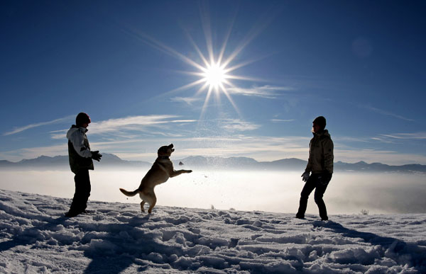 "<div class=""meta image-caption""><div class=""origin-logo origin-image none""><span>none</span></div><span class=""caption-text"">Strollers play with a dog in the snow on a sunny winter day near Irschenberg, southern Germany on Saturday, Dec. 22, 2007. ((AP Photo/Uwe Lein))</span></div>"