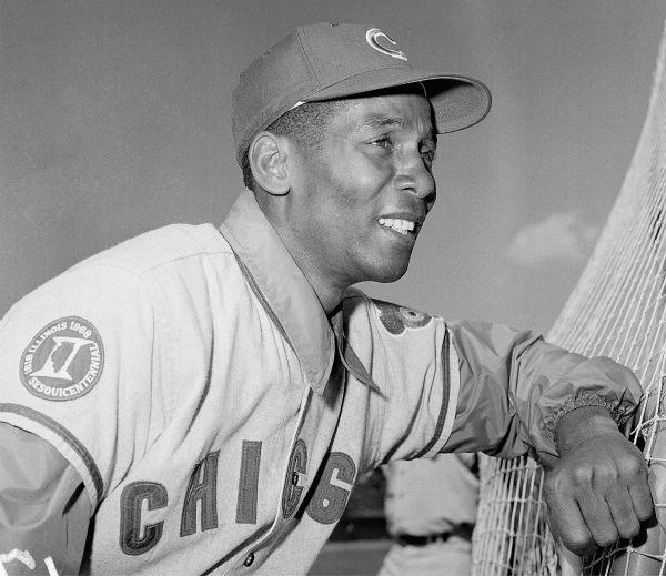 <div class='meta'><div class='origin-logo' data-origin='none'></div><span class='caption-text' data-credit='AP Photo/ RHH'>Ernie Banks Infielder for the Chicago Cubs shown in April 1969. (AP Photo/RHH)</span></div>