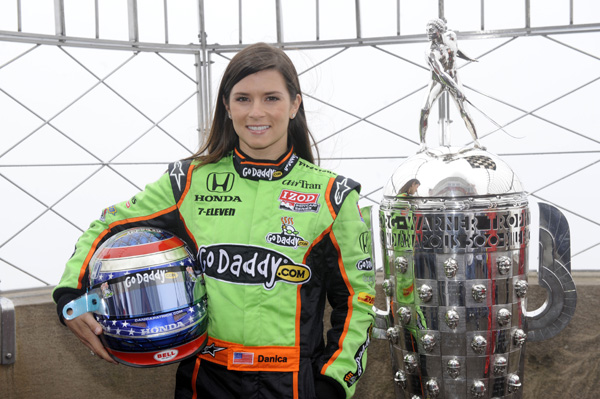 "<div class=""meta image-caption""><div class=""origin-logo origin-image none""><span>none</span></div><span class=""caption-text"">Indy Car driver Danica Patrick poses with the Borg-Warner Trophy, given to the winner of the Indianapolis 500, on May 23, 2011 in New York. (AP Photo/Henny Ray Abrams)</span></div>"