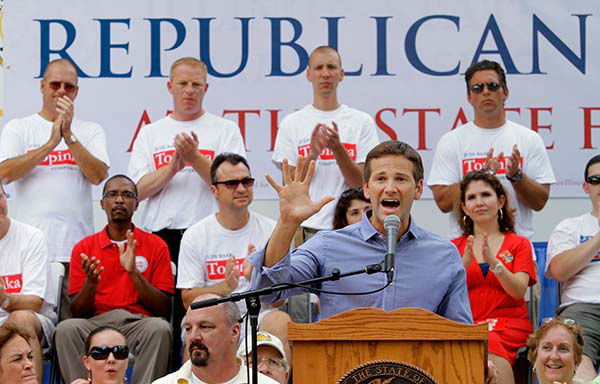 <div class='meta'><div class='origin-logo' data-origin='none'></div><span class='caption-text' data-credit='AP Photo/ Seth Perlman'>U.S. Rep. Aaron Schock, R-Ill., participates in a rally during Republican Day Thursday Aug 18, 2011 at the Illinois State Fairgrounds in Springfield, Ill.</span></div>