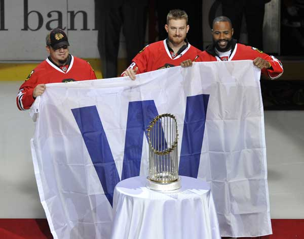 "<div class=""meta image-caption""><div class=""origin-logo origin-image none""><span>none</span></div><span class=""caption-text"">The Chicago Blackhawks honored the World Champion Chicago Cubs during Sunday's night game. (AP)</span></div>"