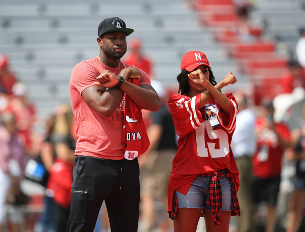 "<div class=""meta image-caption""><div class=""origin-logo origin-image ap""><span>AP</span></div><span class=""caption-text"">Actress Gabrielle Union wears a Nebraska jersey as she poses for a photo with her husband Miami Heat's Dwayne Wade in 2015. (AP)</span></div>"