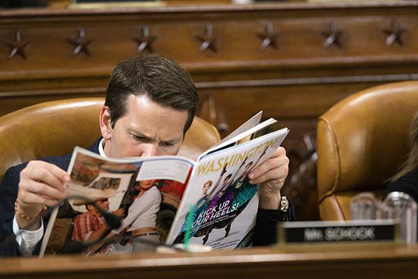 <div class='meta'><div class='origin-logo' data-origin='none'></div><span class='caption-text' data-credit='AP Photo/ J. Scott Applewhite'>Rep. Aaron Schock, R-Ill., peruses a magazine as Health and Human Services Secretary Kathleen Sebelius testifies on Medicare spending in Washington.</span></div>