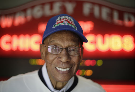 <div class='meta'><div class='origin-logo' data-origin='none'></div><span class='caption-text' data-credit='WLS Photo/ M. Spencer Green'>In this March 24, 2014, photo Chicago Cubs' Hall of Famer Ernie Banks smiles after an interview at the Cubs offices in Chicago. (AP Photo/M. Spencer Green)</span></div>