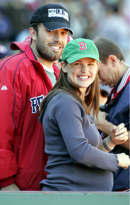<div class='meta'><div class='origin-logo' data-origin='none'></div><span class='caption-text' data-credit='AP Photo/ ELISE AMENDOLA'>Boston Red Sox fans Jennifer Garner and Ben Affleck take in the game at Fenway Park in Boston Saturday, Oct. 1, 2005. (AP Photo/Elise Amendola)</span></div>